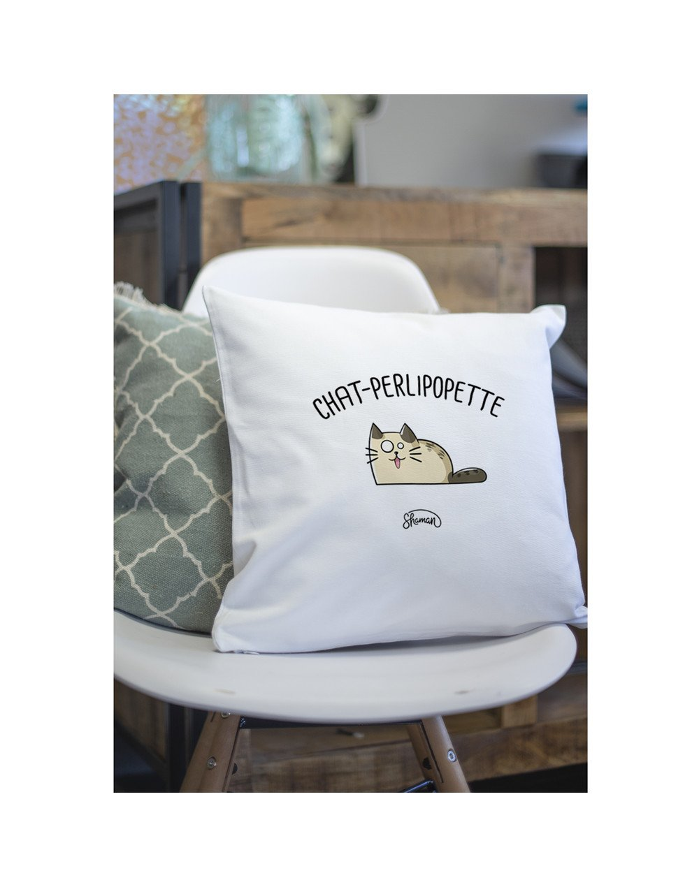 "Coussin ""Chat-perlipopette"""