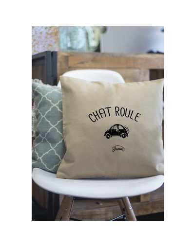 "Coussin ""Chat-roule"""