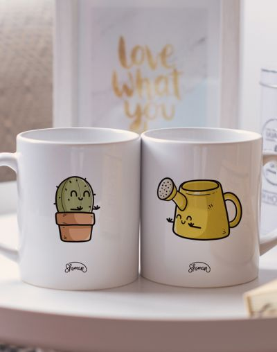 "Mugs duo ""Cactus - Arrosoir"""