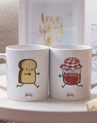 "Mugs duo ""Confiture - Brioche"""
