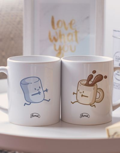 "Mugs duo ""Chamallow - Café"""
