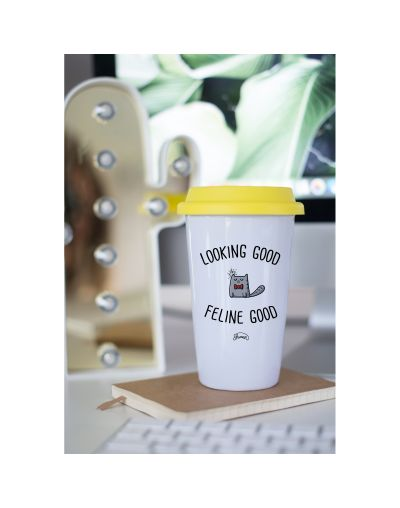 "Mug Take away ""Feline good"""