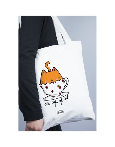 "Tote Bag ""One cup of cat"""