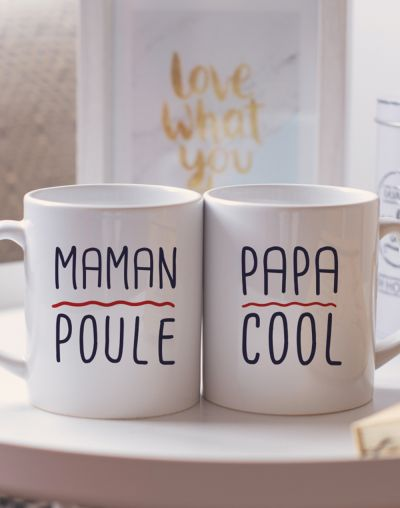 "Mugs duo ""Maman poule - Papa cool"""