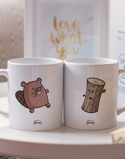 "Mugs duo ""Castor - Bûche"""
